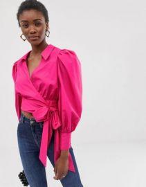 ASOS DESIGN long sleeve wrap top with volume sleeves in cotton   ASOS at Asos