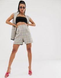 ASOS DESIGN mom suit shorts in check   ASOS at Asos