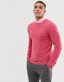 ASOS DESIGN muscle fit merino wool sweater in pink   ASOS at Asos