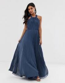 ASOS DESIGN pleated bodice halter maxi dress at ASOS