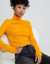 ASOS DESIGN roll neck crop sweater in rib   ASOS at Asos