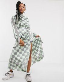 ASOS DESIGN ruched satin midi dress with herringbone tape in checkerboard print at Asos