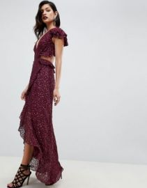 ASOS DESIGN ruffle maxi dress with open back in all over sequin   ASOS at Asos
