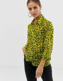 ASOS DESIGN sheer shirt in neon leopard animal print   ASOS at Asos