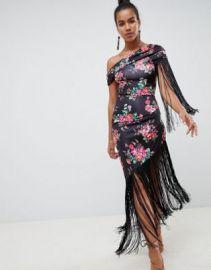 ASOS DESIGN slinky fringe midi dress in floral print at asos com at Asos
