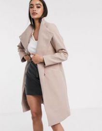 ASOS DESIGN smart coat with wrap front detail in pink   ASOS at Asos