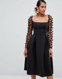ASOS DESIGN square neck 3d floral lace midi prom dress at asos com at Asos