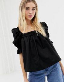 ASOS DESIGN square neck long sleeve top in cotton   ASOS at Asos