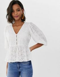 ASOS DESIGN tea blouse in broderie with volume sleeve   ASOS at Asos