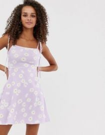 ASOS DESIGN tie strap sundress in lilac daisy print   ASOS at Asos