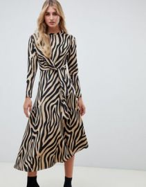 ASOS DESIGN tie waist maxi dress in animal print   ASOS at Asos