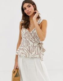 ASOS DESIGN wrap sun top with ring detail in zebra animal print   ASOS at Asos