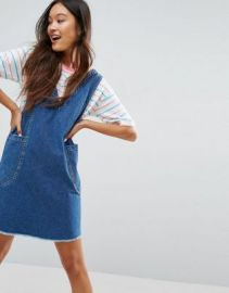 ASOS Denim Chuck On Mini Dress in Vintage Blue Wash at asos com at Asos
