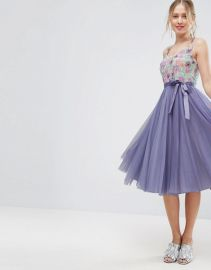 ASOS Floral Embellished Bodice Midi Tulle Skater Dress at Asos