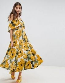 ASOS Golden Floral Bardot Midi Dress at asos com at Asos