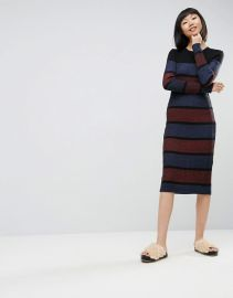 ASOS Knitted Midi Dress In Stripe at ASOS