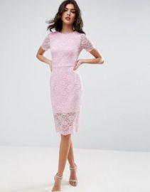 ASOS Lace Scallop T-Shirt Midi Bodycon Dress at asos com at Asos