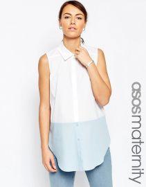 ASOS Maternity  ASOS Maternity Sleeveless Shirt In Colour Block at Asos