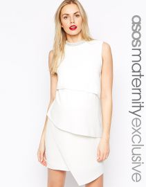 ASOS Maternity Asymmetric Shift Dress with Embellished Neck at Asos