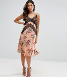 ASOS Maternity Cami Dress with Lace Detail in Floral Print at ASOS