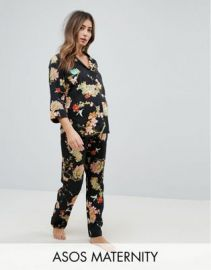 ASOS Maternity Dark Floral Shirt   PANTS Pajama Set at asos com at Asos
