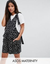 ASOS Maternity Dungaree Playsuit with Strapping Detail in Spot Print at asos com at Asos
