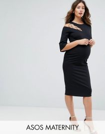 ASOS Maternity Fluted Sleeve Shift Dress with Ladder Detail at ASOS