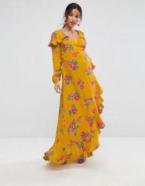ASOS Maternity Long Sleeve Wrap Maxi Dress in Bold Floral at asos com at Asos