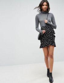ASOS Mini Wrap Skirt in Polka Dot Print at asos com at Asos