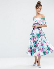 ASOS Off The Shoulder Midi Prom  Dress In Bright Purple Floral at asos com at Asos