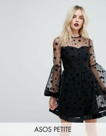 ASOS PETITE Star Mesh Fluted Sleeve Mini Skater Dress at asos com at Asos