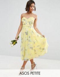 ASOS PETITE WEDDING Rouched Midi Dress in Sunshine Floral Print at asos com at Asos