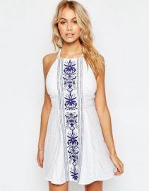 ASOS Panel Embroidered High Neck Cross Back Beach Dress at asos com at Asos