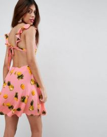 ASOS Pineapple Ruffle Tie Back Skater Mini Dress at asos com at Asos
