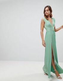 ASOS Premium Lace Insert Pleated Maxi Dress at asos com at Asos