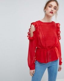 ASOS Ruffle Cold Shoulder Blouse with Pintuck Front and Lace Insert at asos com at Asos