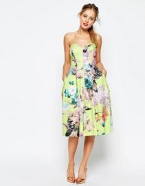 ASOS SALON Lime Floral Bandeau Midi Prom Dress at asos com at Asos