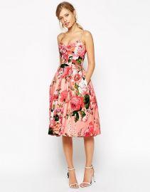 ASOS SALON Rose Print Bandeau Midi Prom Dress in pink at Asos