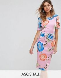 ASOS TALL Midi Wiggle Dress In Pink Floral Print at asos com at Asos