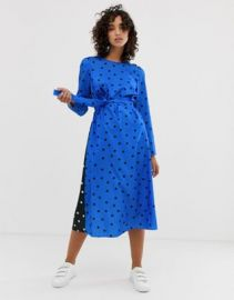 ASOS WHITE long sleeve midi dress in polka dot    ASOS at Asos