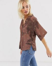 ASOS WHITE shadow palm print bowling shirt   ASOS at Asos