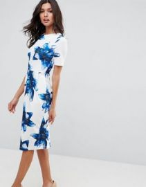ASOS Wiggle Dress In Blue Floral at asos com at Asos