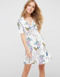 ASOS Wrap Skater Dress In Floral Print at asos com at Asos