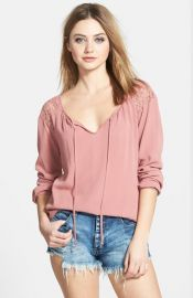 ASTR Crochet Shoulder Top at Nordstrom