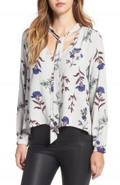 ASTR Floral Print Tie Neck Blouse at Nordstrom