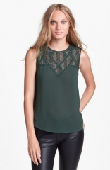 ASTR Lace Yoke Top at Nordstrom
