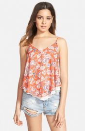 ASTR Print Double Layer Camisole at Nordstrom