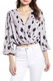 ASTR the Label Pleated Long Sleeve Surplice Top   Nordstrom at Nordstrom