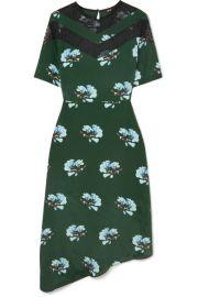 ASYMMETRIC LACE-TRIMMED FLORAL-PRINT CREPE DE CHINE DRESS at Net A Porter