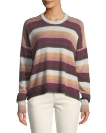 ATM Anthony Thomas Melillo Cashmere-Blend Striped Crewneck Sweater at Neiman Marcus